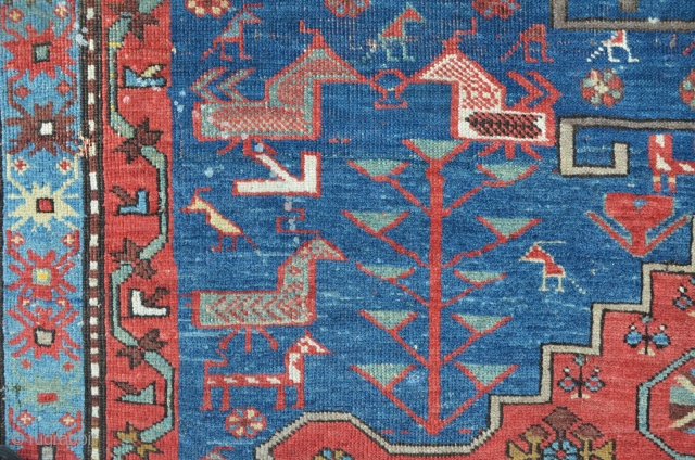 Karabagh 224 x 158 cm, beautiful design with lots of animals. Big damage on the lower side border...no restaurations.