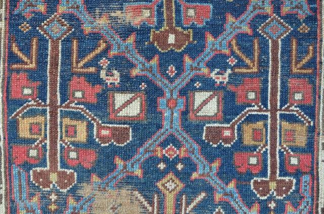 Antique Saudjbulagh, first half 19th, shrub lattice design, beautiful colors. 308 x 121 cm