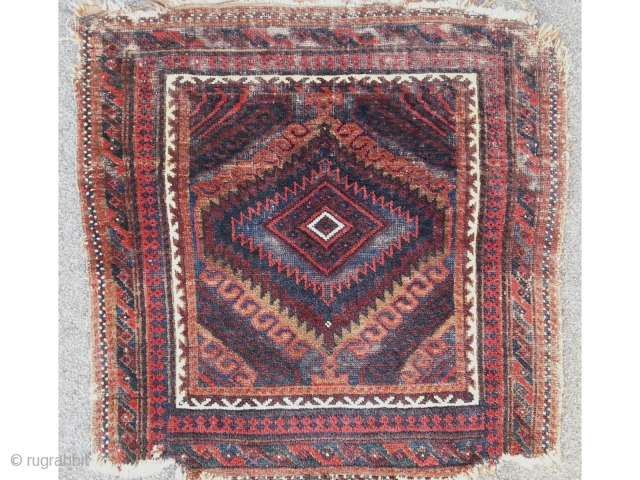 Antique Baluch bagface with Mushwani design, very fine knotted