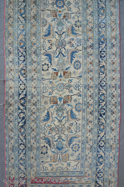 Antique Meshed, 147 x 367 cm, beautiful fragmented from a large carpet. Ivory ground and pastel colors, elegant!