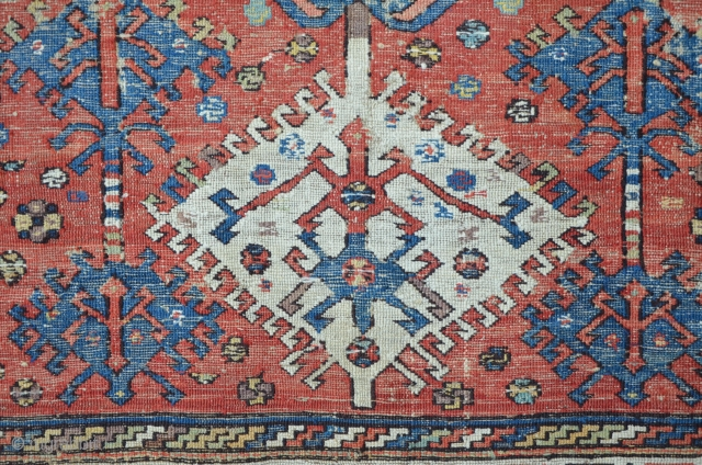 Antique Sumakh with exceptional field patterns. 232 x 152 cm, Main image picture shows the back side.