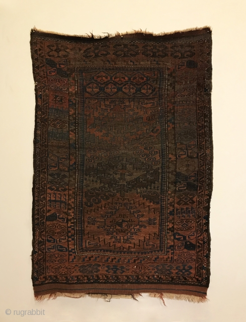 Antique Baluch. Rare Herat Timuri - Northwest Afghanistan. A sampler records ancient tribal symbols woven into a rug. If not preserved for future generations, they can vanish. A fine ivory border and  ...