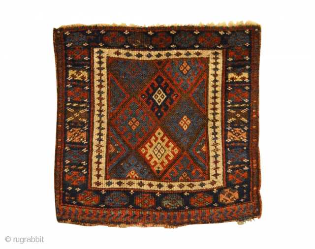 "Antique Jaf Kurd Bag Face. Late 19th Century. Great condition considering age with slight loss to both top and bottom. Moderate pile height with floppy handle. 8 colors. 1'9"" x 1'10"". Carefully  ..."