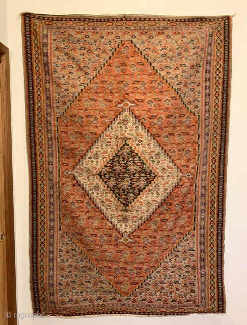"Antique Senneh Kilim. Fine weave. All original sides. 7 colors. 6'7"" x 4'4"". Delicately hand washed."
