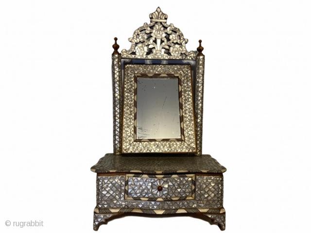 Syrian Sakmajah - Vanity Set Rare antique Syrian Vanity Mirror and Draw set - 'Sakmajah' walnut wood construction, inlaid with Mother of Pearl and metal thread. Circa 1870. Origin: Damascus, Syria Size: 0.57m x 0.32cm  ...