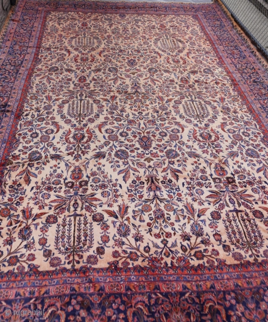 """Manchester Wool Palace size antique Kashan Persian oriental rug ca. 1900's, measures 12' x 18'8""""   (366 x 570) excellent original condition, hand washed and cleaned professionally, full pile, no wears."""