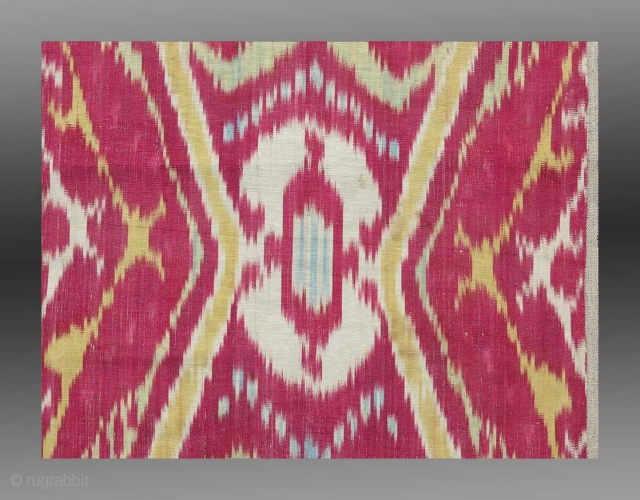 "Ikat Panel (mounted fragment), Central Asia, 19th Century, 1'3"" "" x 3'6""
