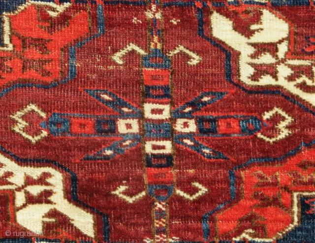 """Tekke Turkmen Main Carpet, Central Asia, 19th c., 6'4"""" x 7'4""""  All natural dyes, good age, some wear (see detail image)  $3800 (including domestic USA shipping)"""