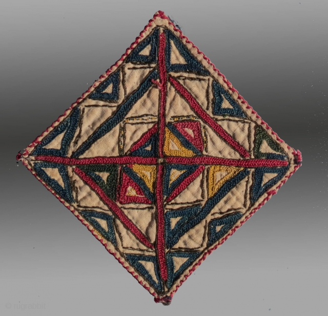"Tekke Turkmen Embroidered 'Talisman', Central Asia, late 19th C., 4"" square