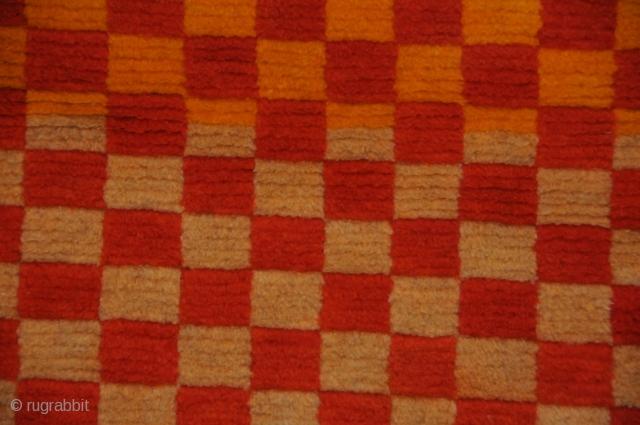 Checkerboard Khaden Sleeping Carpet Cotton foundation.  Tibet Circa 1930 32x67