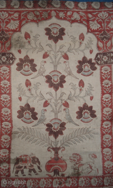Mordant resist dyed valance. Produced in Comorandel Coast or Gujarat, India for Tibetan market. 18th century or earlier. Complete textile includes 10 niches Can be seen at ARTS in SF October 20-23