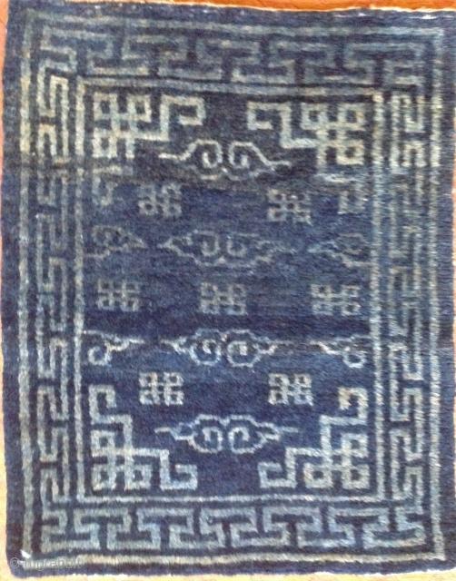 Indigo mat. 22 x 27 inches Wool foundation. circa 1900 Tibet