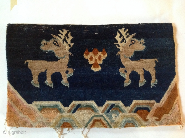Seasons Greetings Pillow carpets with Reindeer/stags Early 20th century Tibet