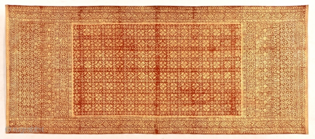 Ceremonial shoulder cloth - Kain Prada, Palembang, Sumatra. Entirely covered in gold leaf, back also gorgeous in lawon style, - belonged to noblewoman. Size: 210x89cm. 19th c. see www.tinatabone.com