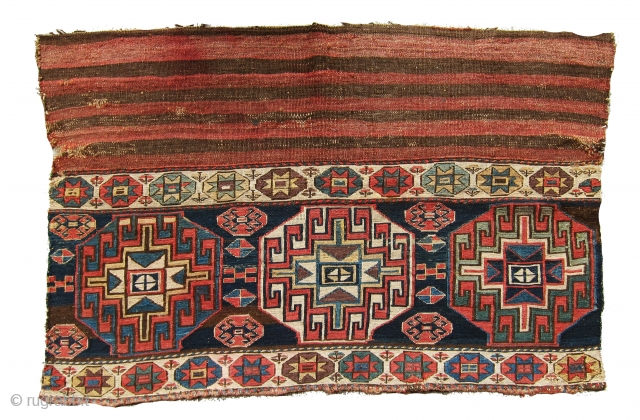 Extremely rare and very old Shahsavan large mafrash panel in perfect original condition, I believe it is older than 1870 most probably mid 19th century. Great colors including aubergine. All colors are  ...