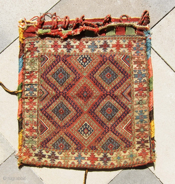 """Another great sumac bag from Shahsavan region, antique and extremely colorful bag, all colors are natural. Size 1'-9""""x1'-7""""."""