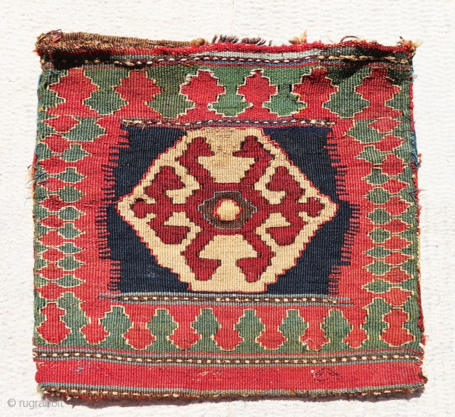 """Great and antique Shahsavan/Gharadagh killim chanteh in perfect condition and absolutely outstanding color combination. The size is 1'-2""""x1'-4"""". Top piece"""