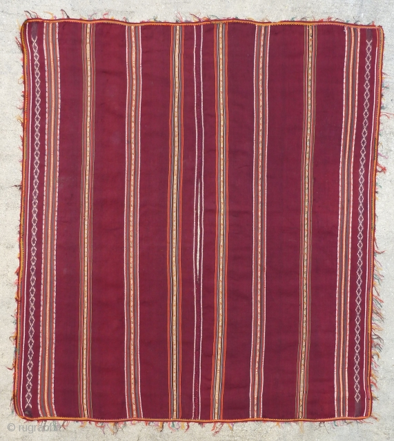 Antique Calcha poncho from Bolivia. Late 19th century or very early 20th century. Very finely woven. All wool. Beautiful colors, which are probably natural.   Good condition for age with some small holes  ...