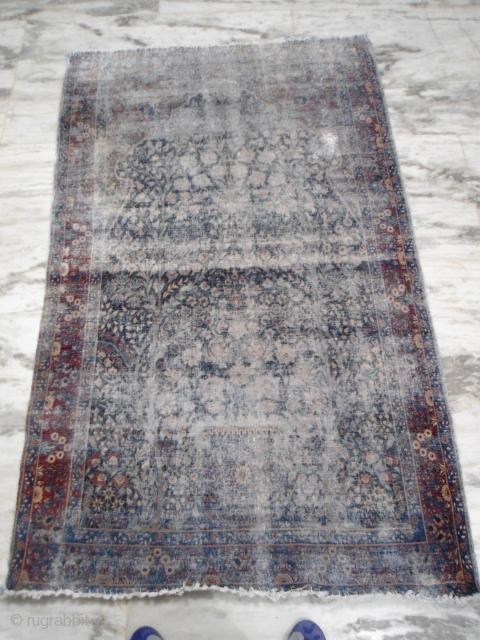 Antique Kerman Tree of life rug Worn 6'x4' Worldwide shipping : $75