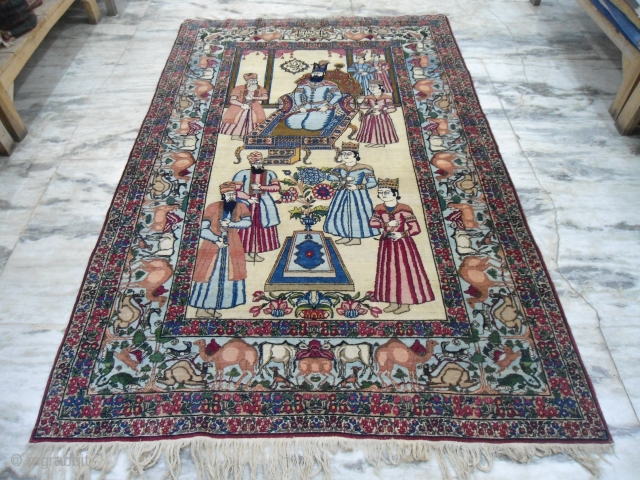 Early 20th Century Kerman rug 5 x 7.6 ft excellent condition