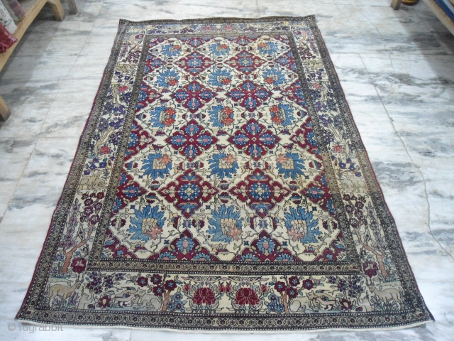 Early 20th century collectible Persian Isfahan rug 5 x 7ft approximately  some low pile areas,