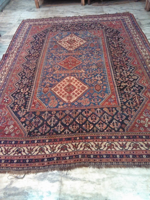 1910s Kashkay persian rug 7 x 10 ft  short pile, no holes,  worldwide shipping