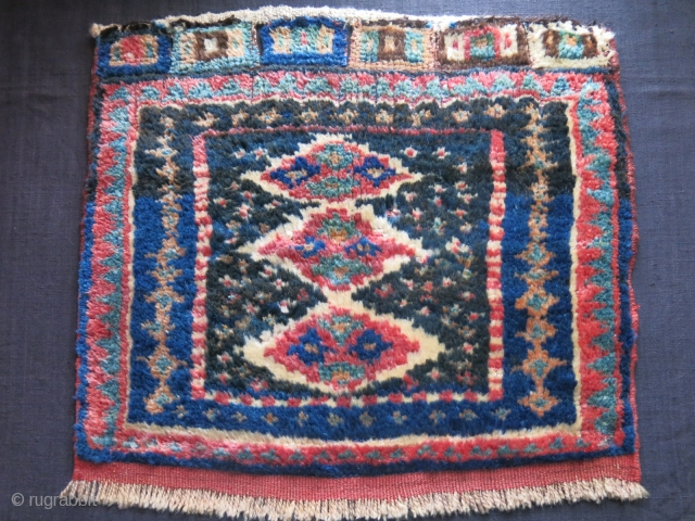 """Luri - Baktiyar Nomadic bag face - Thick pile with saturated natural colors. A minor hole restored. couple warps/weft breaks have secured with stitcing. size: 21"""" X 18"""" - 54 cm X  ..."""
