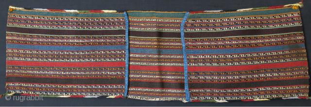 "Shahsavan Jajim small double bag, satruated colors, circa 1900 or earlier size: 33"" X 10"" -- 84 cm X 25 cm"