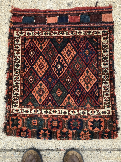 """Jaf Kurd bag complete with original back and closure tabs. Pretty elem panel with stars. Good thick pile with just slight wear. Natural dyes. Reasonably clean. 19th c. example. 26"""" x 30"""""""
