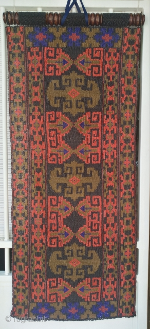 Very decorative , old and rare Uzbek glass beads screen, 49cm x 119cm. Its colors change depending on the light, from dark to very clear and saturated.  Very good condition, no stain, no rot,  ...
