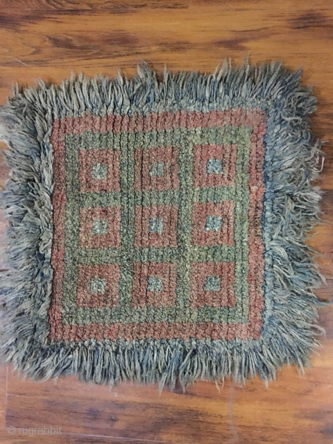 "Tibetan Square  Wangden rug, checker board pattern. Good age and condition. Size 73*73cm (28*28"")"