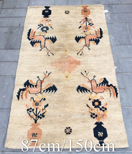 """Tibet rug, The symmetrical pattern of golden chickens and vases and flowers is very interesting and rare. Good age and condition. Size 87*150cm(34*59"""")"""