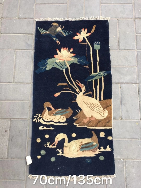 """Chinese Baotou rug,  blue backpack with """"Mandarin duck playing in the water """" pattern. Good age and condition. Size 135*70cm( 53*27"""")"""