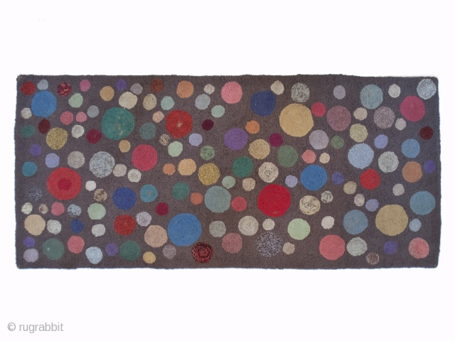 """Early American hooked rug. 40"""" (101.6 cm) by 18.5"""" (47 cm). Ex Fifi White collection. I believe the fiber is wool."""