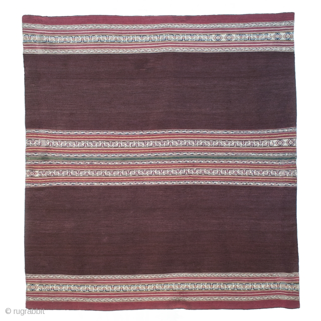 """Ahuayo (woman's mantle), Aymara culture, Potosi/Oruro, Bolivia. Camelid yarns, natural dyes, pre-1850. 47.5"""" 120.6 cm) high by 43"""" (109.2 cm) wide. The weaving of this piece is unique to the Aymara people  ..."""