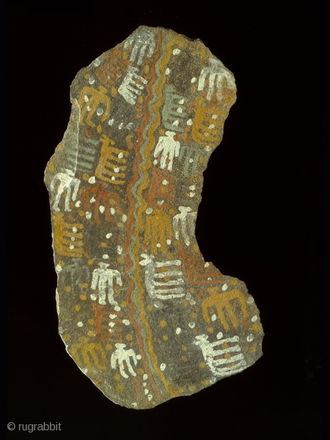 """Large stone pictograph, Inca culture, Chucu, Arequipa, Peru, Stone, resin pigments, 38.5"""" (98 cm) high. Inca Period, ca. 1000-1400 A.D. Painting on one face depicts a river running through the center with humans and hooved animals on  ..."""