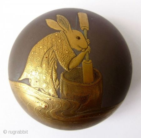 Charming 18th C. Japanese Lacquer Kogo with Rabbit Pounding Mochi