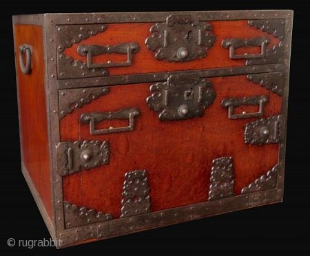 Rare Japanese Edo Keyaki Burl Sado Island Fune Tansu