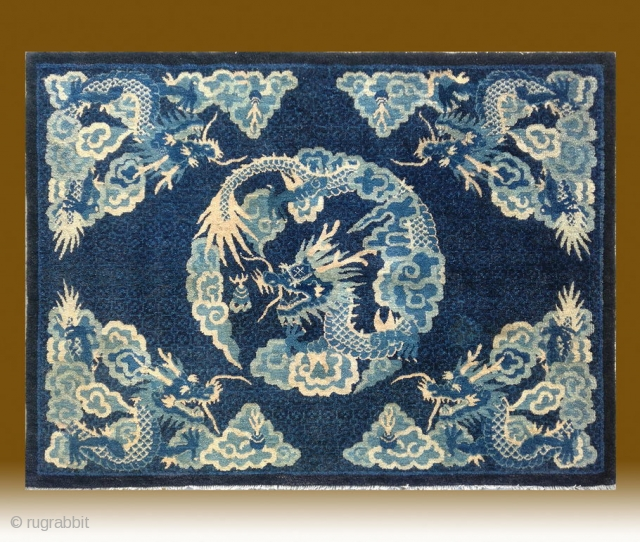 "No.CL059 * Chinese Antique Rug ""Dragons + Clouds"" .Size: 112x152cm(3'8"" x 5'). Age: Early 19th Century. Origin: Baotou-Suiyuan Shape: Rectangle. Background Color: Blues."