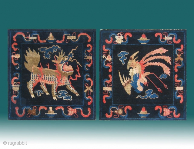 """No.P38 * Chinese Antique Mat-Rug """"Phoenix and Unicorn(kylin)"""" . Age: 19th Century. Size: 58x60cm(23""""x24"""")x2. Origin:Baotou-Suiyuan. Shape:Square.  .Background Color: Blues.  A set of hanging rug with the kings of Sky and and Earth.  ..."""