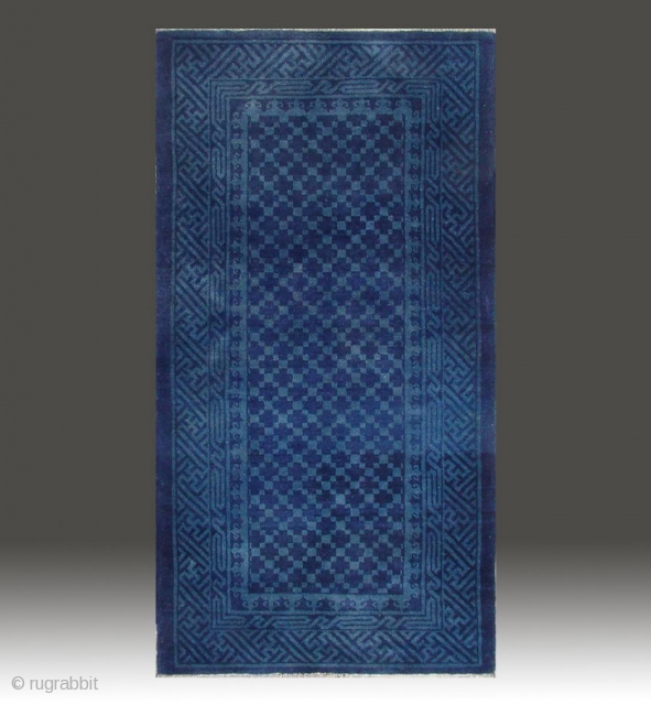 "No.A0053 * Chinese Antique Rug , Age: 19/20th Century. Size: 67x128cm(26""x50"").Origin: Baotou-Suiyuan.Shape: Rectangle. Background Color: Blues."