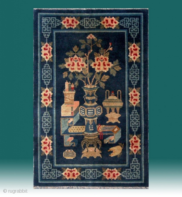 "No.R151 * Chinese Antique Rug . Age: 19th Century. Size: 100x156cm(39""x61""). Origin: Baotou-Suiyuan Shape: Rectangle. Background Color: Blues. The carpet shows the symbols of the Four Accomplishments:The lute, the chessboard, the paintings  ..."