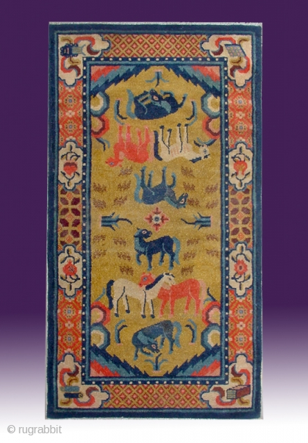 "No.C004 * Chinese Antique ""Eight Horses"" Rug . Origin: Baotou-Suiyuan. Shape: Rectangle Age: 19th Century Size: 71x142cm(2'4""x4'8""). Background Color: Yellows .