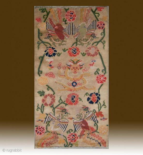 """No.CL007 * Tibetan Antique """"Super Dragon & Four Phoenix"""" Rug..Age: 19/20th Century. Size:87x164cm(34""""x65""""). Origin:Tibet. Shape:Rectangle. Background Color: Camels."""