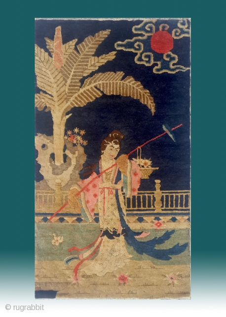 """No.Lu07 * Chinese Antique """"Chinese Pretty Girl"""" Rug.Late 19th Century.Size: 64x111cm(25""""x44"""").Origin: Baotou. The girl on the rug is the leading lady in one of the most four famous chinese classical novel ,  ..."""