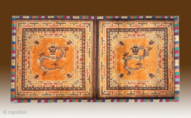 "No.DX021 * Chinese Rug-Mat ""Dragon"" , Origin:Gansu-Qinghai Shape: Rectangle Age: About 100 years old Size: 72x133cm(2'4""x4'4"") .Background Color: Oranges. A magnificent dragon with a striking mane holding four flaming gems. a mountain,  ..."