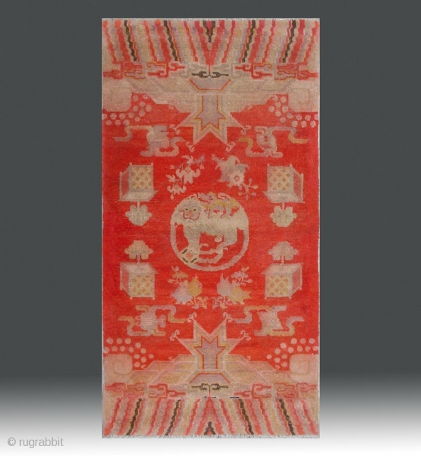 """No.R094 * Chinese Antique """"Fo-Dog"""" Temple Rug , Age:Early 20th Century.Size:69x130cm(27""""x51""""). Origin:Baotou-Suiyuan. Shape:Rectangle. Background Color:Reds."""