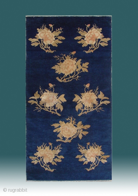 "No.R028 * Chinese Antique ""Peony Flower"" Rug ,Origin: Baotou.Age: 19th Century. Size: 67x135cm(26""x53""). This very elegant carpet from Baotao in inner Mongolia features an auspicious eight peony flowers on a field of  ..."
