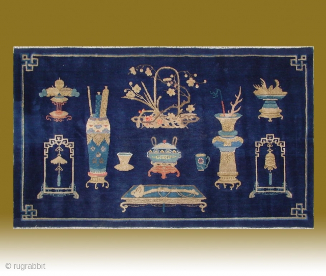 "No.CL047 * Chinese Antique ""Vase Design"" Rug, Age:Late19th Century.Size:99x166cm(3'3""x5'5"").
