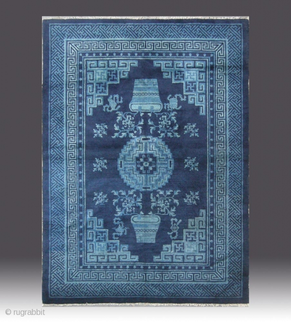 "No.R145 * Chinese Antique Rug ,Origin: Baotou-Suiyuan. Age: 19th Century. Size: 135x182cm(4'5""x6').Shape: Rectangle . Background Color: Blues."